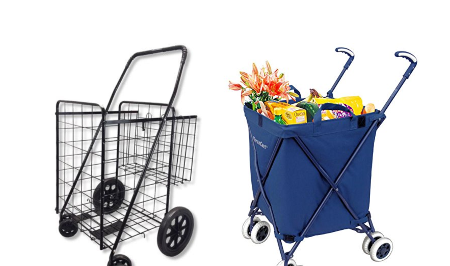 Heavy Duty Folding Shopping Carts for Groceries and Laundry